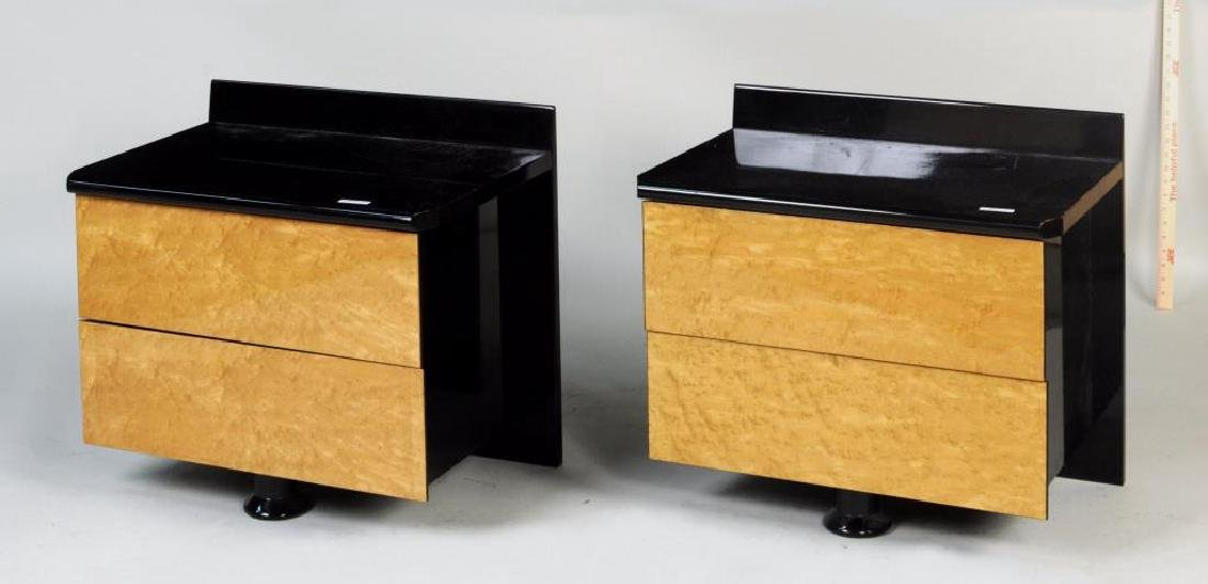 Pair Modernist Black Lacquer/Maple Night Tables