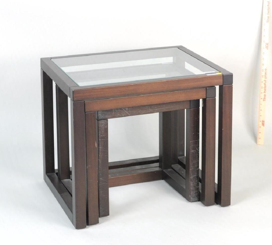 Three Modern Wood/Glass Nesting Tables