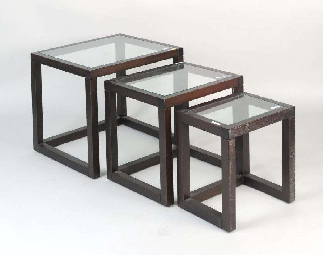 Three Modern Wood/Glass Nesting Tables - 2