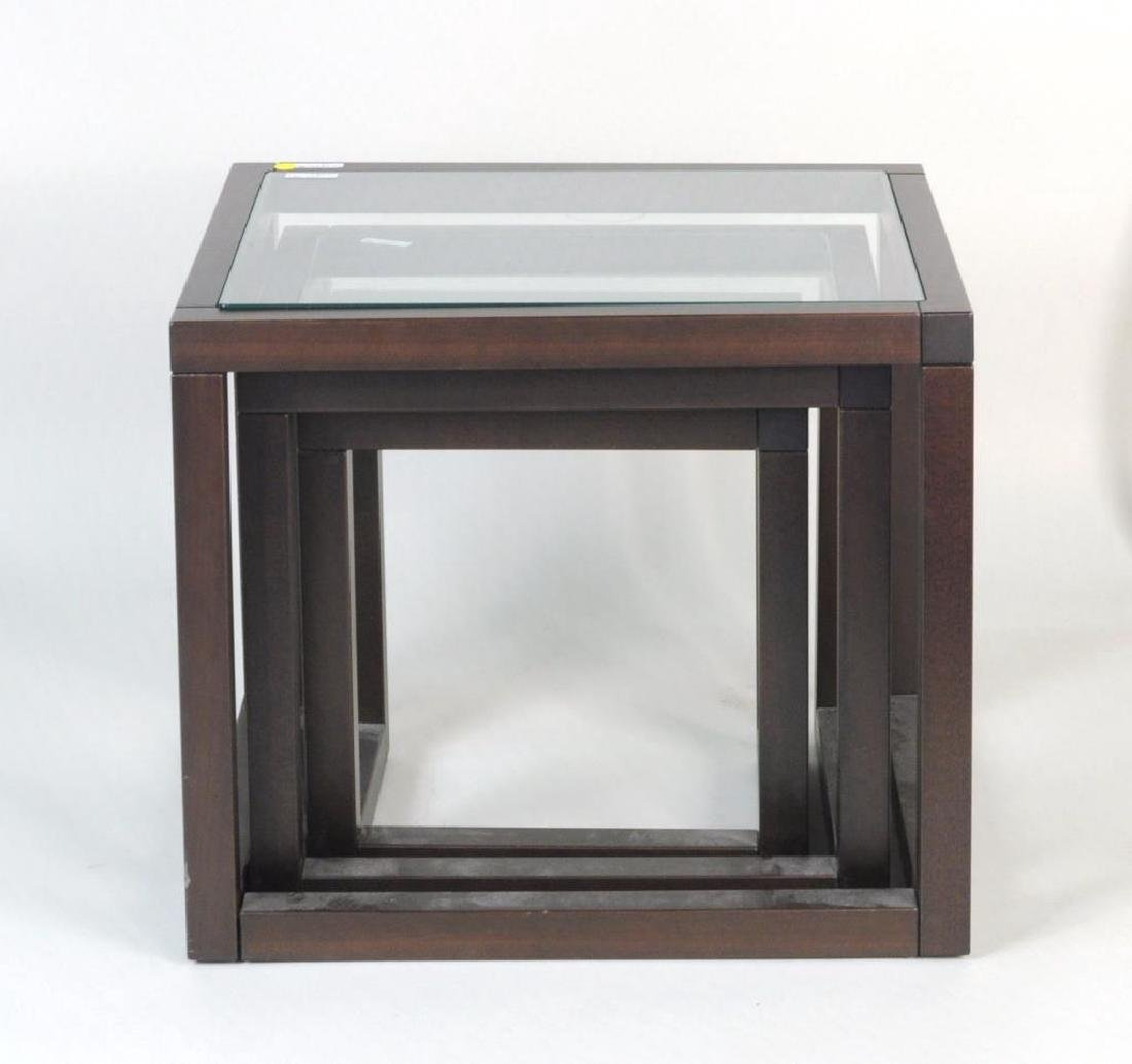 Three Modern Wood/Glass Nesting Tables - 3