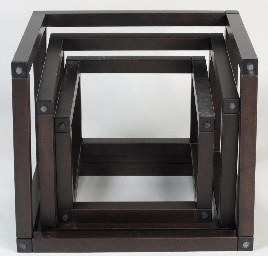 Three Modern Wood/Glass Nesting Tables - 4