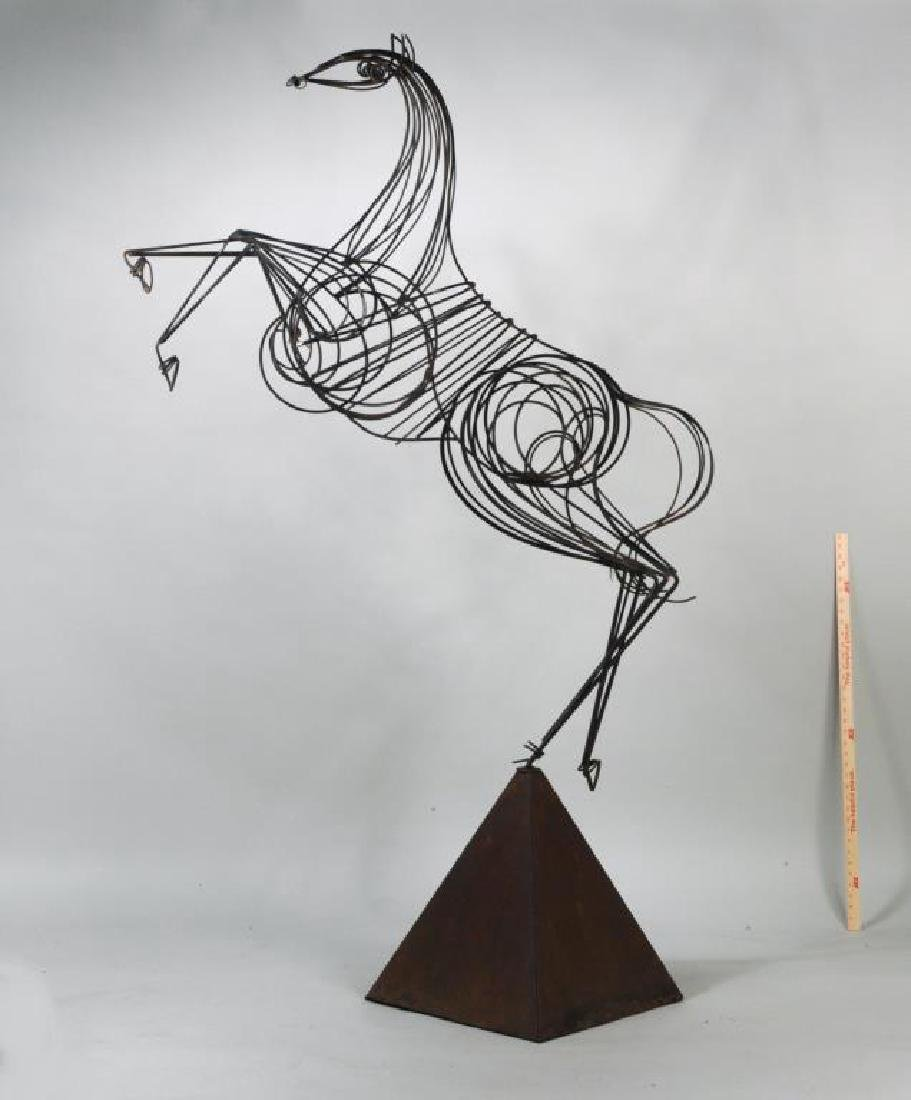 Modern Wrought Iron Sculpture of Rearing Horse