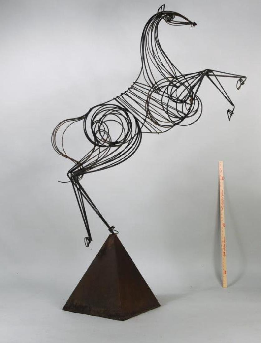 Modern Wrought Iron Sculpture of Rearing Horse - 2