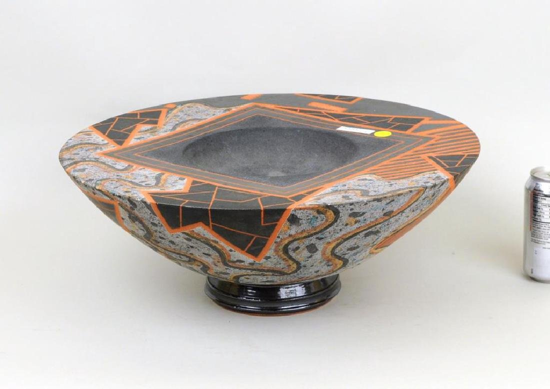 Large Modern Glazed and Slip Decorated Bowl
