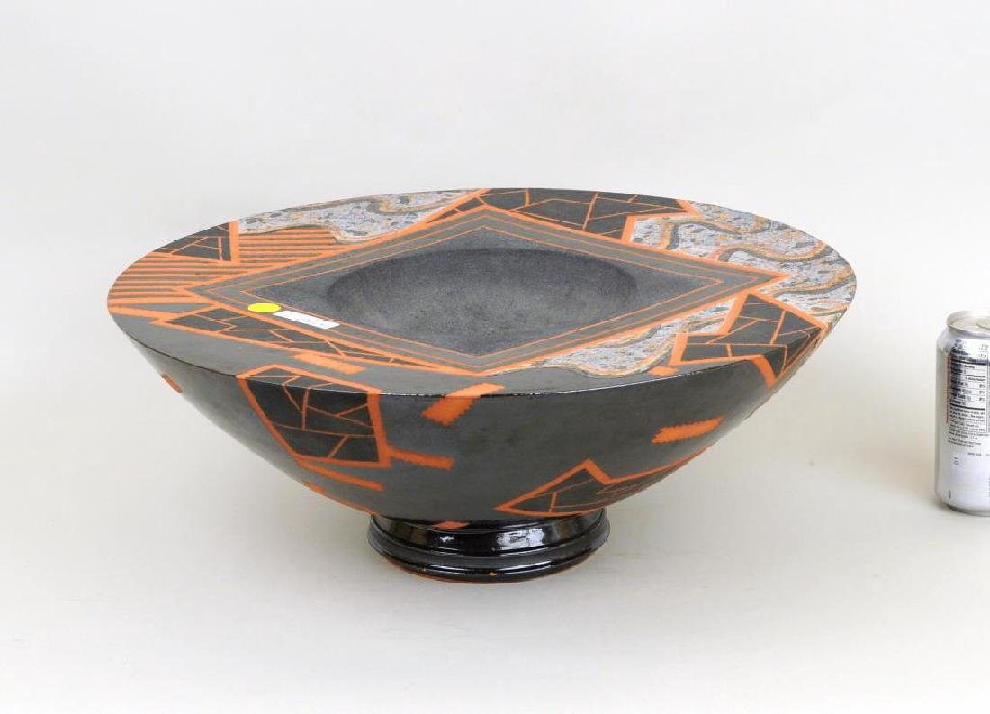 Large Modern Glazed and Slip Decorated Bowl - 2