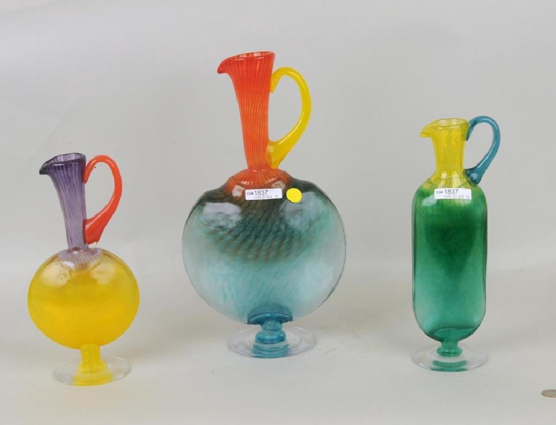 Three Hand Blown Colored Glass Ewers - 2