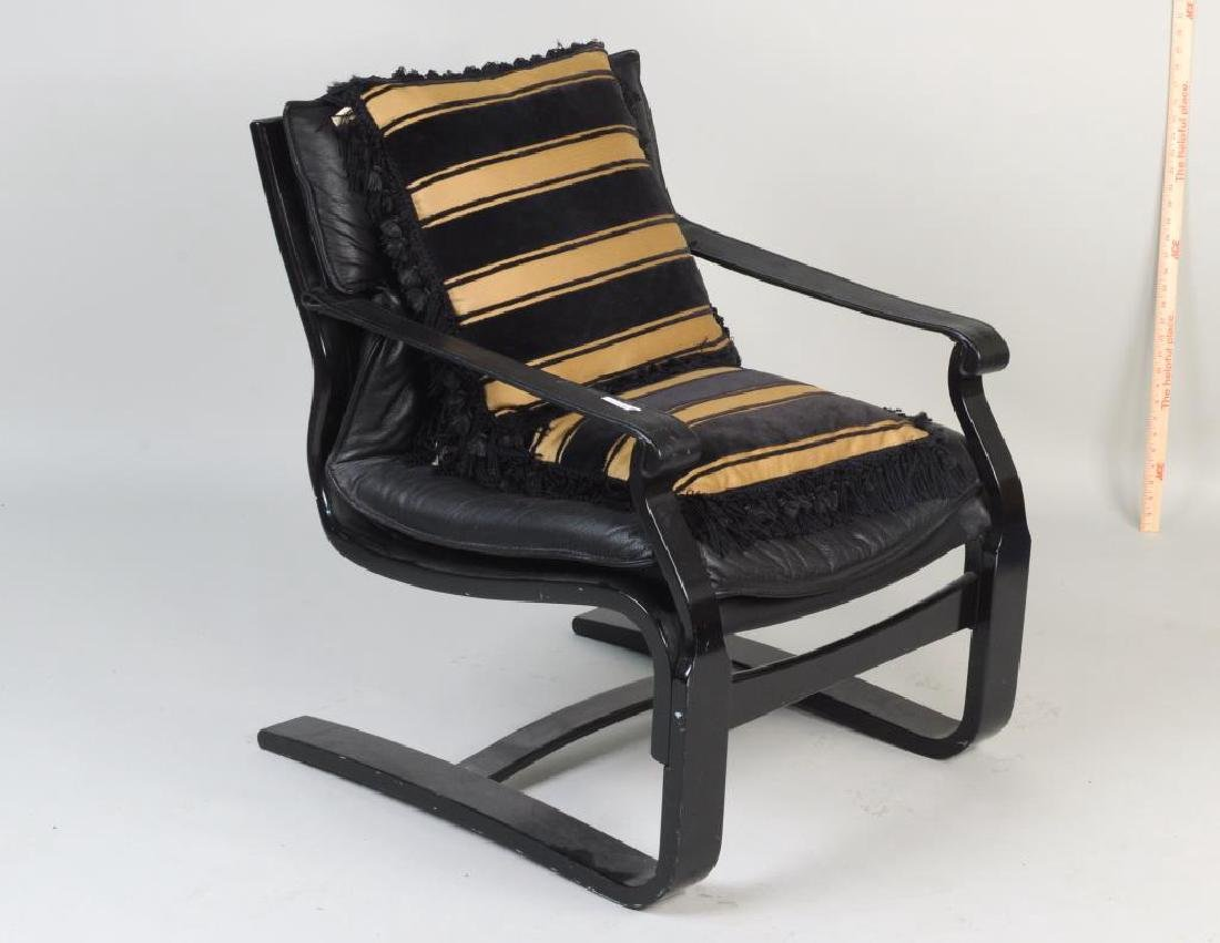 Modern Black Lacquered Leather Lounge Chair - 2