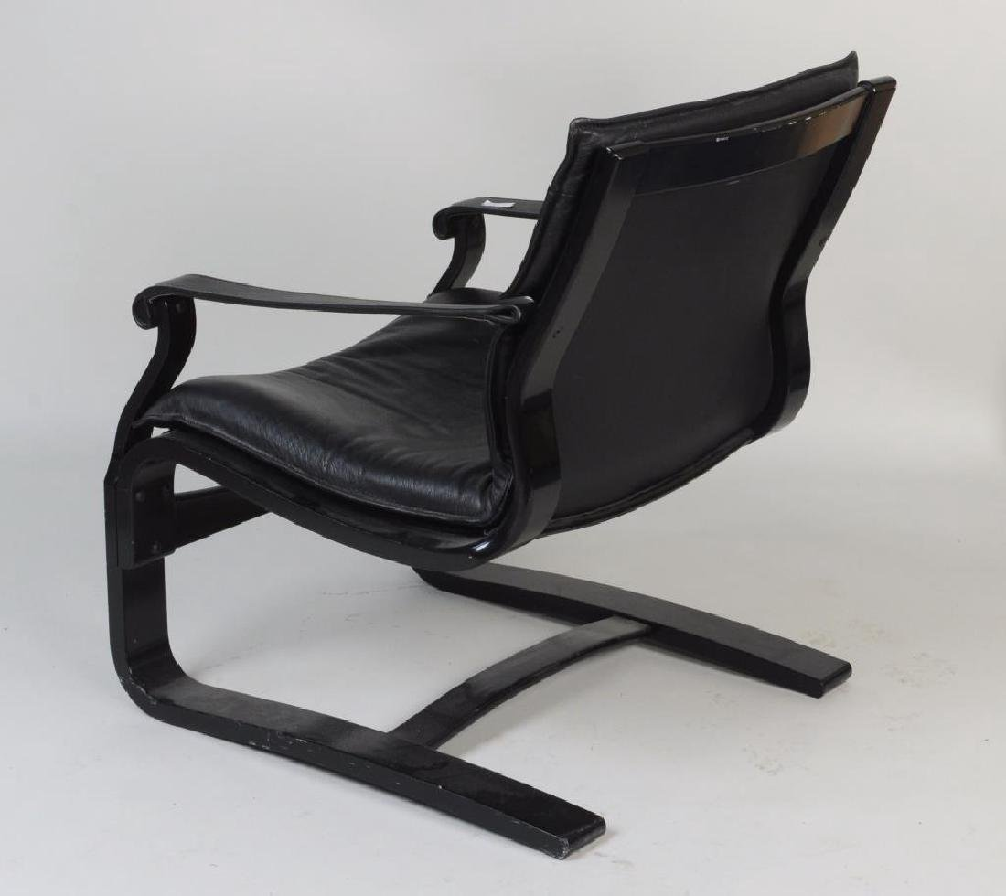 Modern Black Lacquered Leather Lounge Chair - 3
