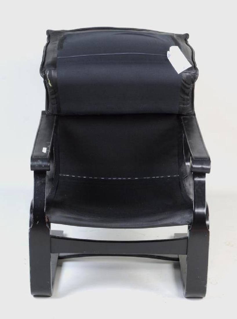 Modern Black Lacquered Leather Lounge Chair - 4
