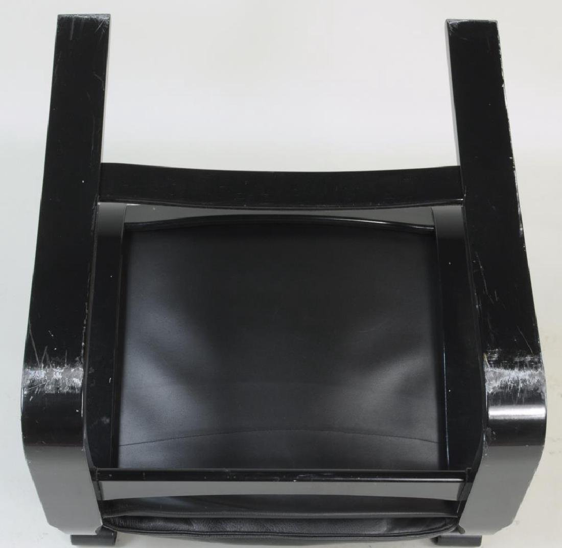 Modern Black Lacquered Leather Lounge Chair - 5