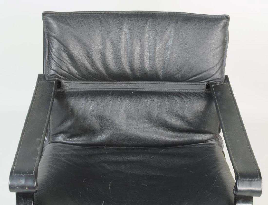 Modern Black Lacquered Leather Lounge Chair - 7