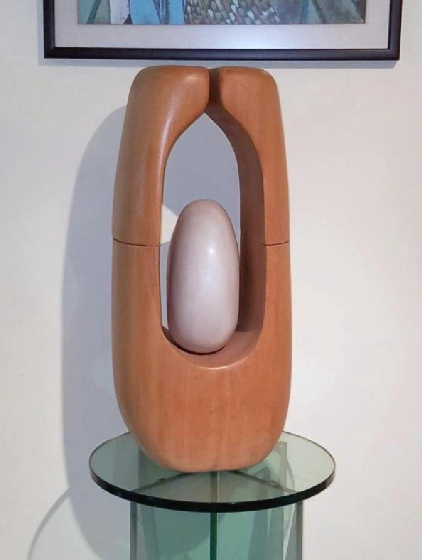 Modernist Abstract Wood  & Stone Sculpture