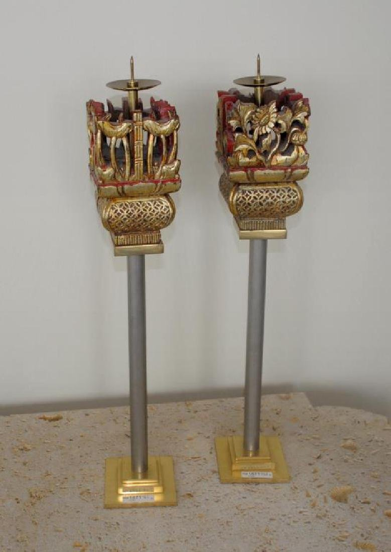 Pair Asian Style Modernist Pricket Sticks
