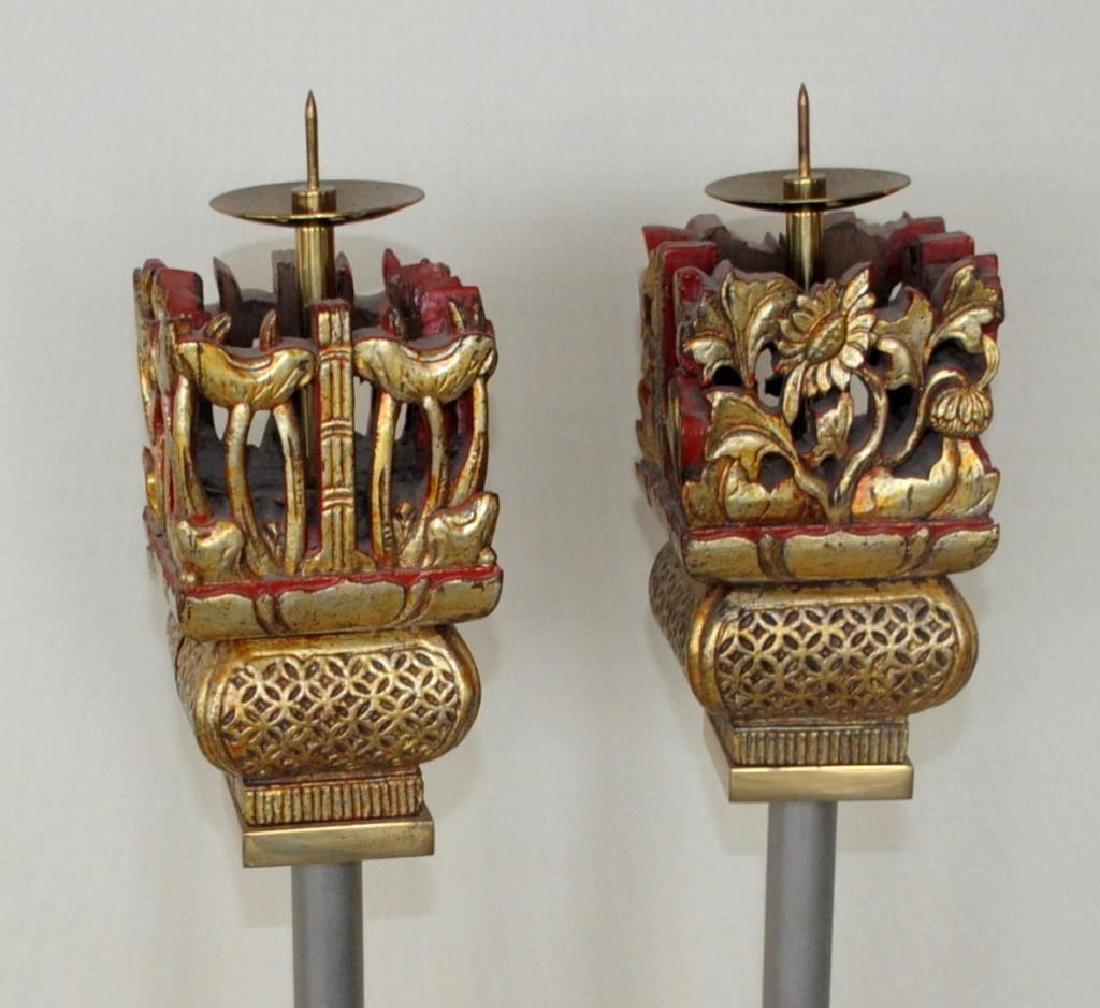 Pair Asian Style Modernist Pricket Sticks - 2