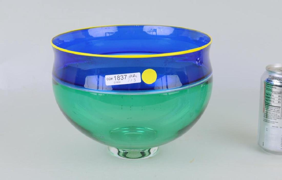 Modern Footed Three Color Glass Bowl