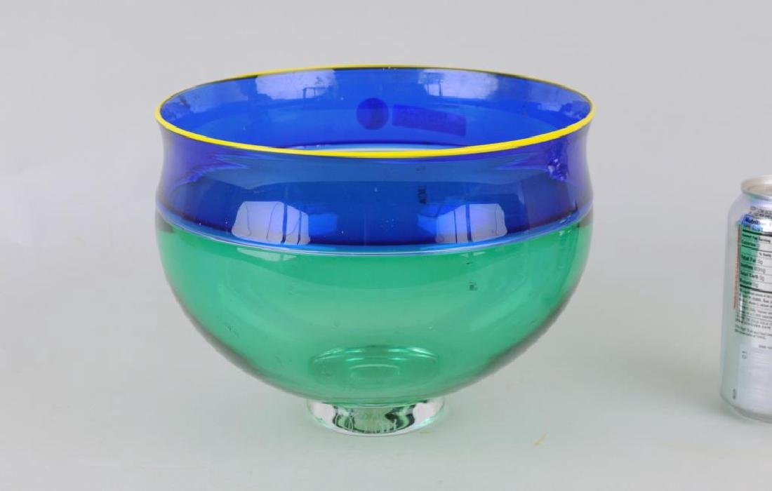 Modern Footed Three Color Glass Bowl - 2