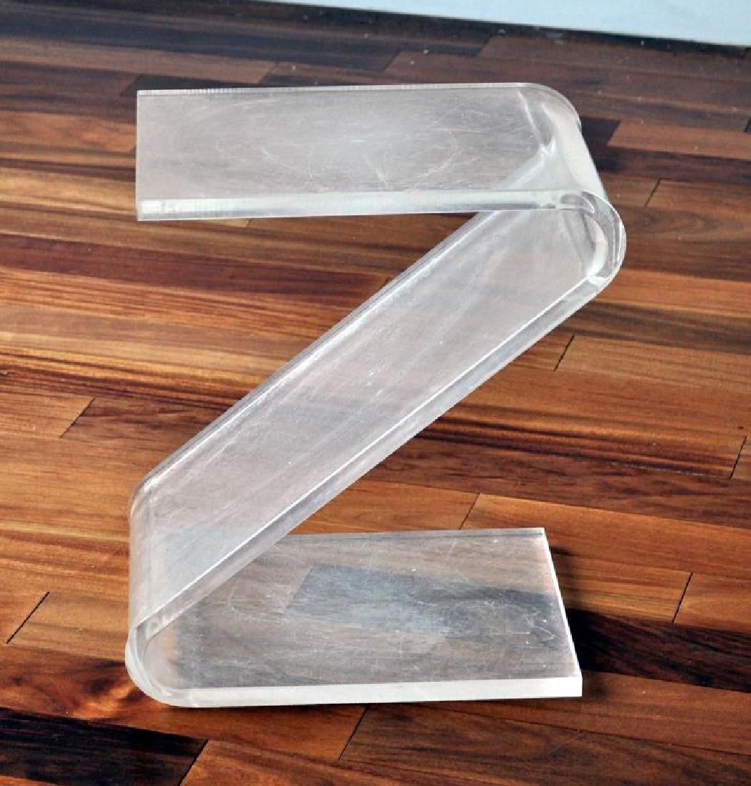 "Modern Lucite ""Z"" Form Side Table"