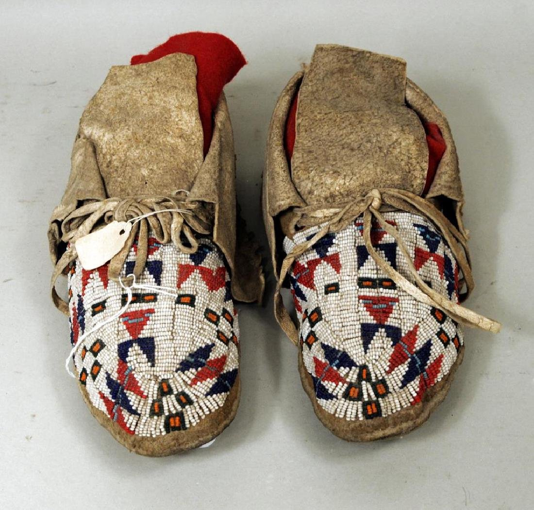 Pair Sioux Beaded Moccasins