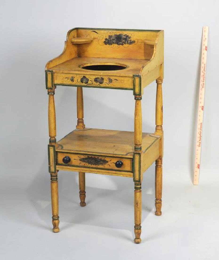 New England Yellow Painted Sheraton Wash Stand