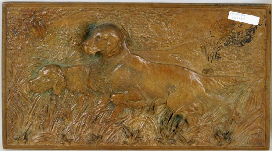 "Poss. John Munk ""Setters On Point"" Bronze Plaque"