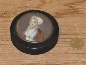 Lacquer Portrait Box with  Miniature Of Lady