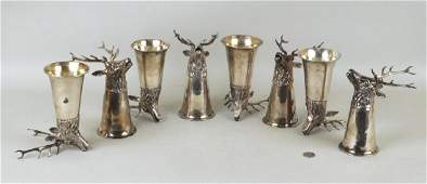 """Group Eight German Sterling Tiffany """"Stag"""" Cups"""