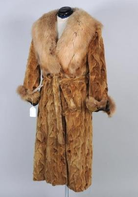 Sheared Whiskey Mink Ovals Coat With Belt