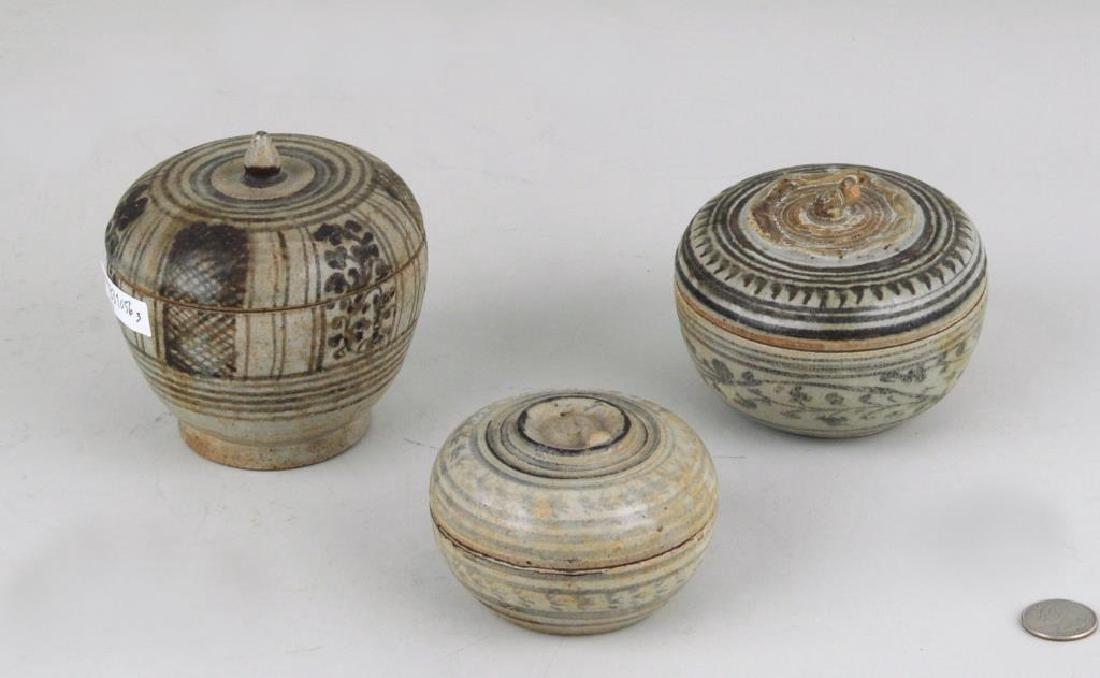 Three Early Thai Stoneware Lidded Jars/Boxes