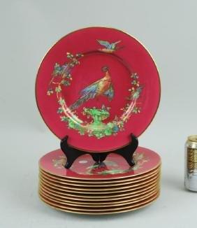 Set 12 Copeland Spode Magenta Bird Dinner Plates