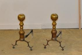 Pair Period Brass Ball Top Andirons