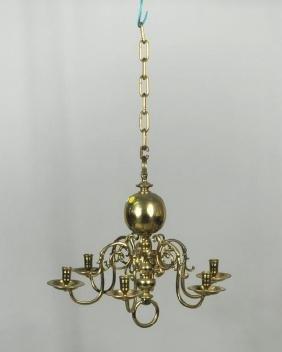 Brass Georgian Style Six Arm Chandelier