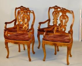 Set 4 Continental Queen Anne Carved Arm Chairs