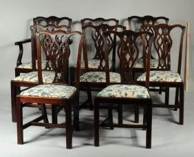 Set Eight Chippendale Style Carved Dining Chairs