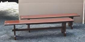 Pair Pine Trestle Base Church Type Wooden Benches