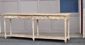 Antiqued Country Style Long Side Table