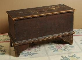 Small Brown Painted Blanket Chest, Bootjack Ends