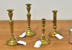 Four Brass Candlesticks, One Pair