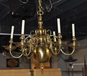 Georgian Style Brass Six Light Chandelier