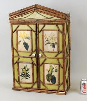 Bamboo & Painted Hanging Wall Cabinet