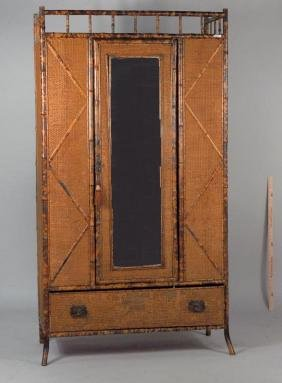 Vintage Victorian Bamboo Armoire