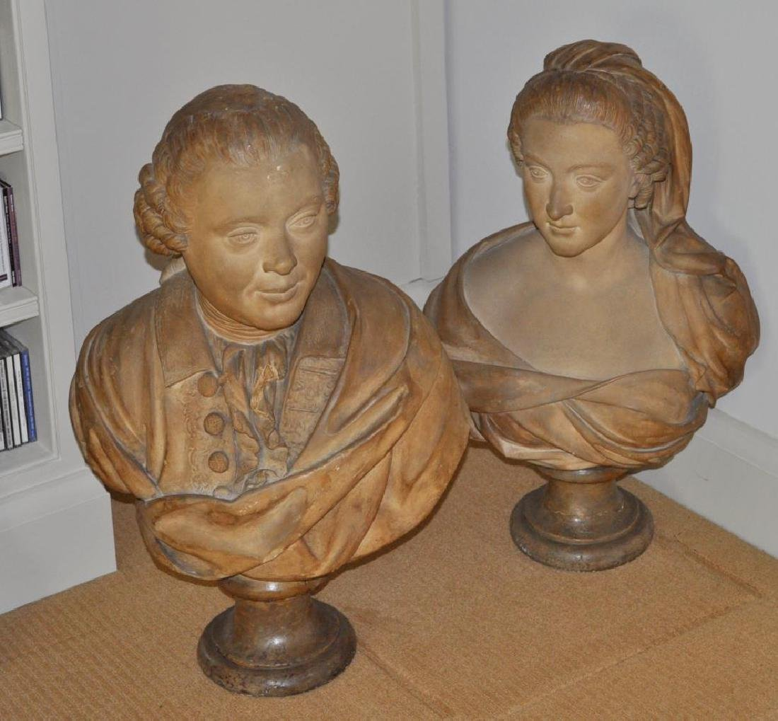 Pair Continental Plaster Busts