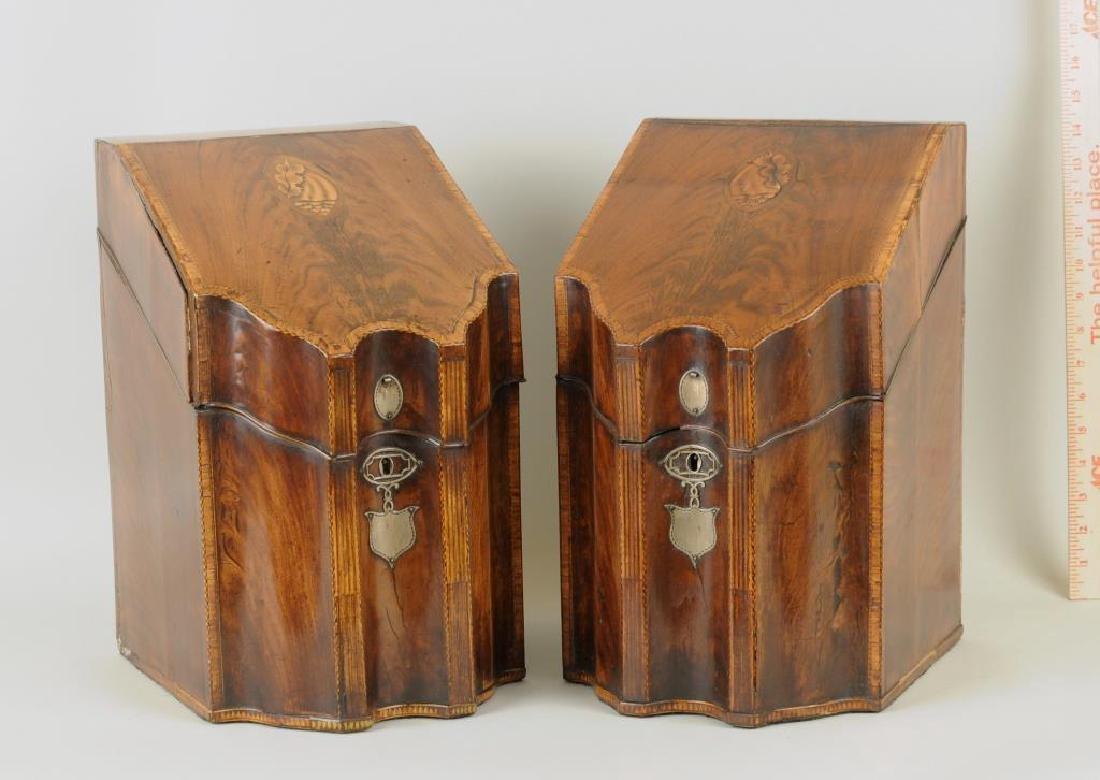 Pair George III Inlaid Mahogany Knife Boxes