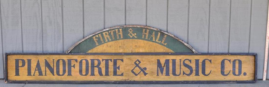 """Large Painted Trade Sign """"Pianoforte & Music Co."""""""
