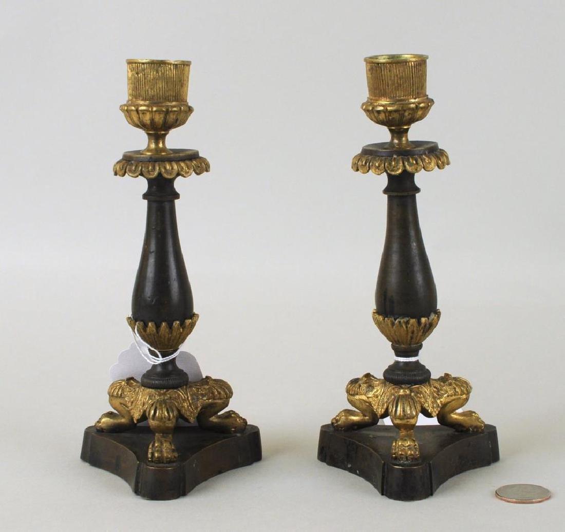 Pair Empire Parcel Gilt Bronze Candlesticks