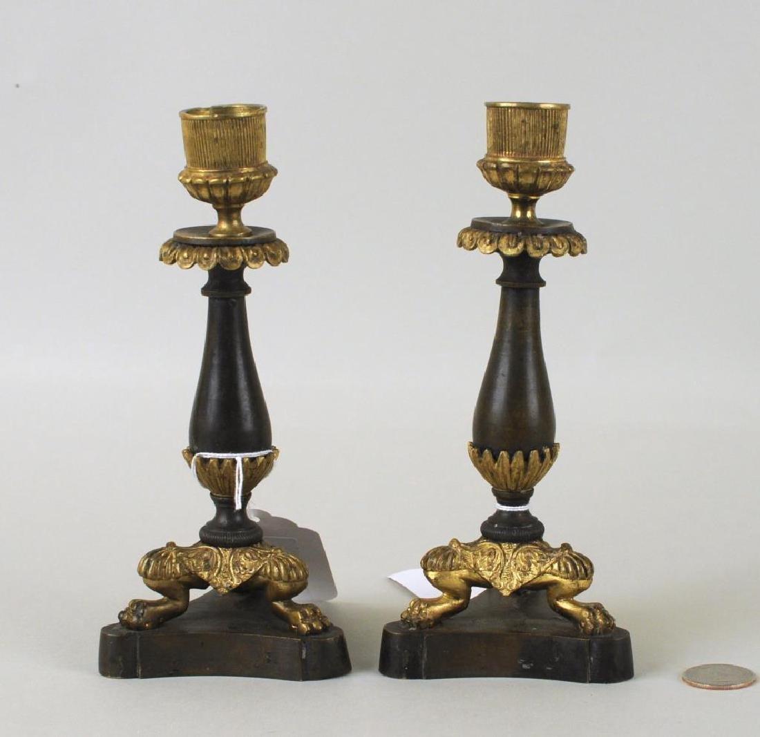 Pair Empire Parcel Gilt Bronze Candlesticks - 2