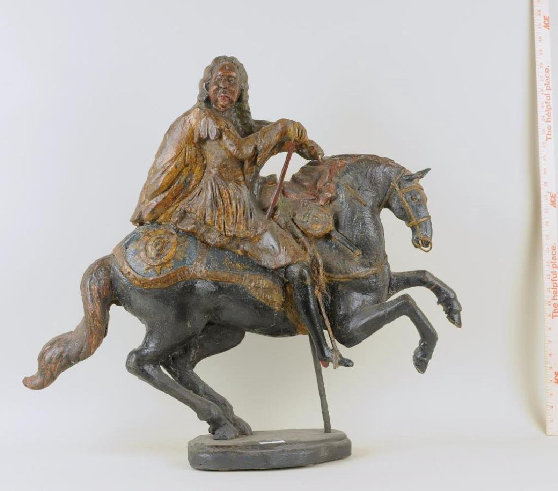French Carved Wood & Polychrome Figure, Louis XIV