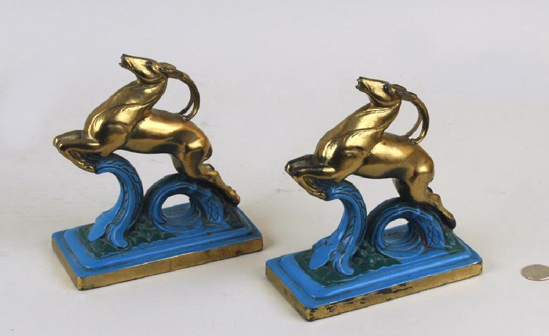 Pair Art Deco Polychromed Brass Antelope Bookends