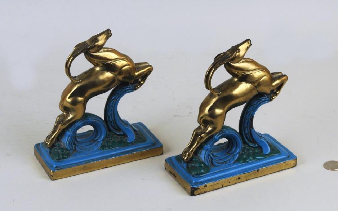 Pair Art Deco Polychromed Brass Antelope Bookends - 2