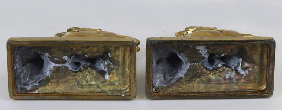 Pair Art Deco Polychromed Brass Antelope Bookends - 3