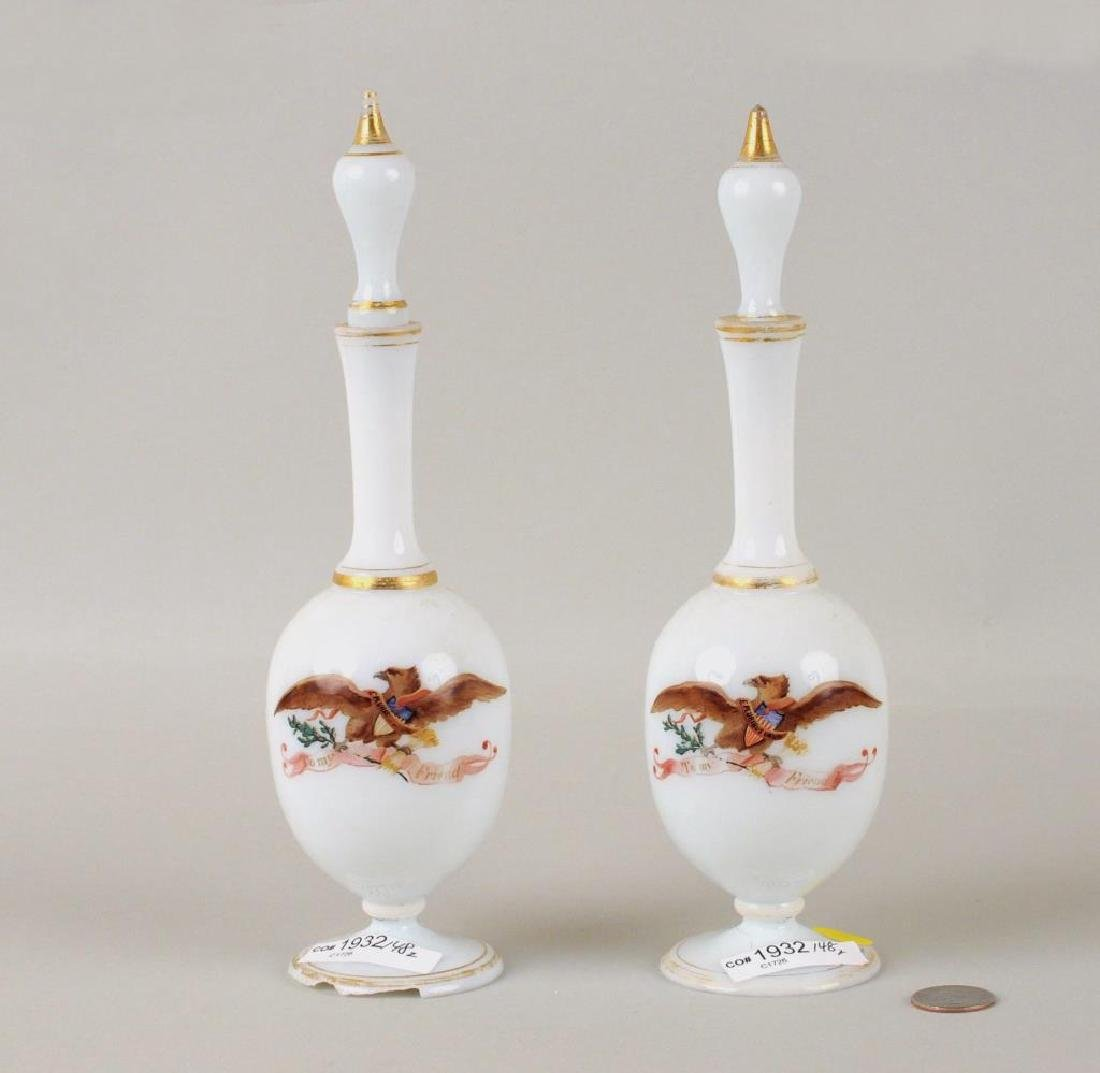 Pair Possibly Bristol Glass Cologne Bottles